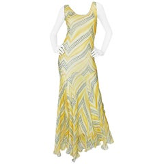 1990s Christian Dior by John Galliano Bias Cut Silk Chiffon Dress