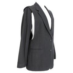 1990s Maison Martin Margiela Blue Gray Cotton Sleeveless Vest Pinstripe Jacket