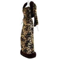 1990s Michael Casey Couture Leopard Burn-Out & Lame Velvet 2-Piece Evening Gown