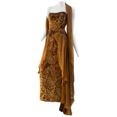 1990s Michael Casey Tobacco Cut Velvet Strapless Gown W/ Bronze Beading & Scarf