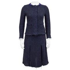 1990s Prada Raw Edge Navy Blue Knit Tweed Skirt Suit
