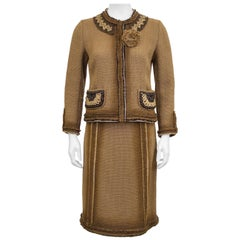 1990s Prada Tan Woven Linen Boucle Suit with Macrame Details