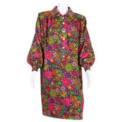 1990s Winter Iconic Yves Saint Laurent Multicoloured Dress