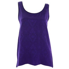 1990s Yves Saint Laurent Purple Silk Jacquard Vintage Sleeveless Top