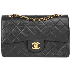 1991 Chanel Black Quilted Lambskin Vintage Small Classic Double Flap Bag