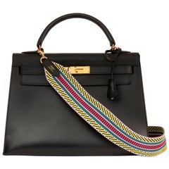 1992 Hermès Black Box Calf Leather Vintage Kelly 32cm