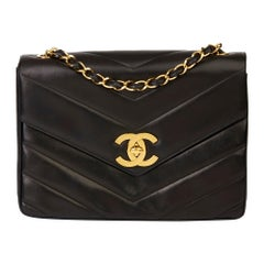 1994 Chanel Black Chevron Quilted Lambskin Vintage Jumbo XL Classic Single Flap