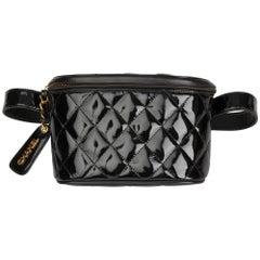 1995 Chanel Black Quilted Patent Leather Vintage Timeless Belt Bag