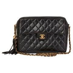 1996 Chanel Black Quilted Lambskin Vintage Camera Bag