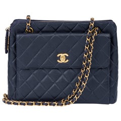 1997 Chanel Navy Quilted Caviar Leather Vintage Classic Shoulder Bag