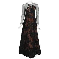 1998 Pierre Balmain Haute Couture Sheer Illusion Appliqué Black Tulle Lace Gown