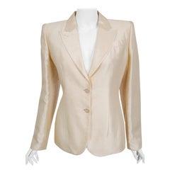 1999 Alexander Mcqueen Lifetime Creme Silk Embroidered Illusion Blazer Jacket