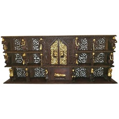19th Century SE Asian Highly Carved Wooden and Gilted Floor Case