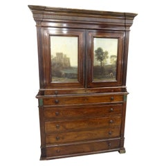19th Century England Georgian hardlwood, Glass Offsets, Green Marble Cupboard