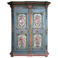 19th Carved Blu Floral Painted Wardrobe, 1823