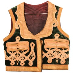 19th Century Antique Ottoman Emerald Green and Gold Thread Embroidered Vest