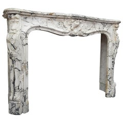 19th Century Arabescato Marble Louis XIV Trois Coquilles Fireplace