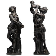 19th Century Art Nouveau Bronzes Depicting a Satyr and a Bacchante