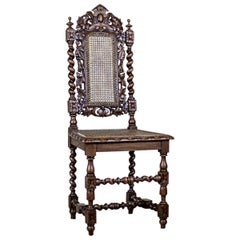 19th Century Carved Chair with Rattan