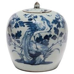 19th Century Chinese Blue and White Peony Jar