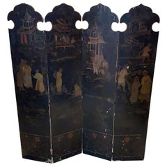 19th Century  Chinoiserie Four-Paneled Painted Floor Screen, 1800s