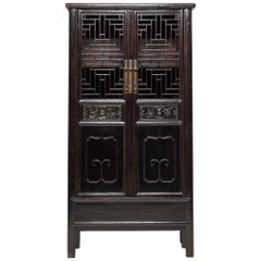 19th Century Chinese Diamond Lattice Display Cabinet