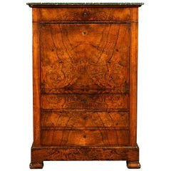 19th Century Classical Charles X Burled Secretaire a Abattant