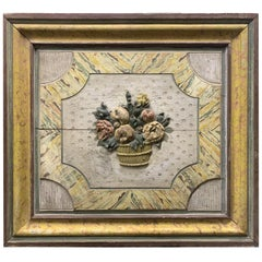 19th Century Continental Panel with Carved Basket of Fruit and Flowers