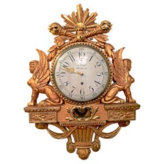 19th Century Empire Clock Gold T Kluge Stockholm with Sphinxes on Each Side
