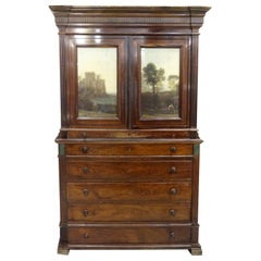 19th Century England Georgian hardlwood, Glass Offsets, Green Marble Cupboard