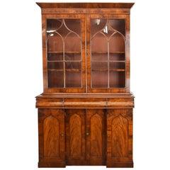 19th Century English Early Victorian Flamed Mahogany Bookcase