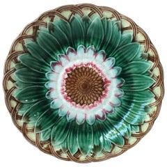 19th Century English Majolica Sunflower Plate