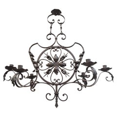 19th Century French Gothic Forged Iron Six Candles Chandelier