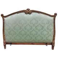 19th Century French King Size Bed Hand Carved Giltwood Frame Silk Upholstery