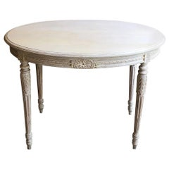 19th Century French Louis XVI Oval Painted Center Table