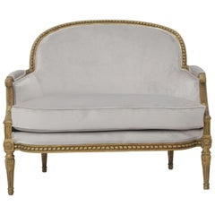 19th Century French Louis XVI Style Carved Giltwood and Pale Grey Suede Loveseat