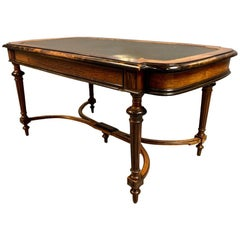 19th Century French Rosewood Bureau Plat Desk with Original Green Leather Top