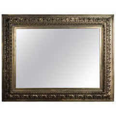 19th Century Historical Antique Mirror Frame Poliment Gilded