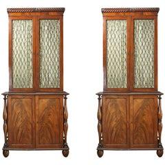 19th Century Irish Pair of Cork Flame Mahogany Bookcases