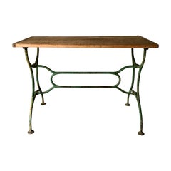 19th Century Iron Table with Wooden Top