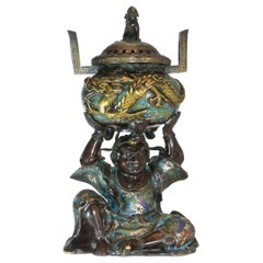 19th Century Japanese Bronze Burns Incense Character with Dragon