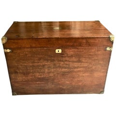 19th Century Large Oak Wood Trunk with Brass Accents and Handless