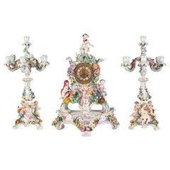 19th Century Meissen Porcelain Clock Garniture with Candelabra