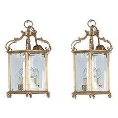 19th Century Pair of Brass Hexagonal Lanterns