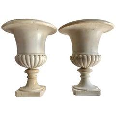 19th Century Pair of Carrara Marble Medici Vases