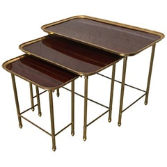 19th Century Set of Three Nesting Tables in Brass and Mahogany, France