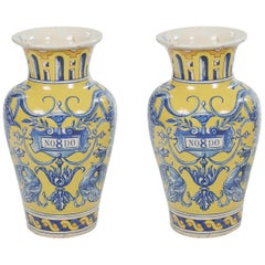 19th Century Spanish Pair of Urns, Talavera Dela Reina Pottery, Stamped 1899