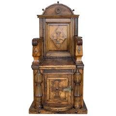 19th Century Spanish Carved Walnut Throne Armchair