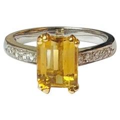 2 Carat Citrine Diamond Cocktail Ring