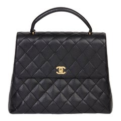 2000 Chanel Black Quilted Caviar Leather Vintage Classic Kelly